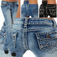 ingrosso jeans a vita bassa delle signore-2018 Jeans moda donna Jeans a vita bassa Stretch jeans dritti denim per pantaloni slim fit donna