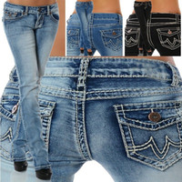 calças de cintura baixa venda por atacado-2018 Moda Feminina Jeans Calças de Cintura Baixa Stretch Em Linha Reta Denim Jeans para Senhora Slim Fit Calças Compridas