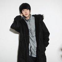 beiläufiger kapuzenmänner-grabenmantel großhandel-Beiläufige Mens-Winter-dünne Jacke mit Kapuze Pelz-Warmjacke Trench Thicken Coats Parka
