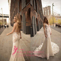Wholesale Mermaid Satin Silver Dress - Berta Wedding Dress Collection 2018 Nigerian Lace Styles Mermaid Backless Sleeveless Adoration V Neck Sheer Neck Bridal Gowns