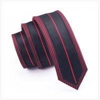 Wholesale narrow tie width - Red Pattern Frame Line Black Striped Slim Tie Skinny Narrow gravata 2017 Fashion Silk Ties For men 6cm width Wedding dress E-101