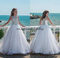 Wholesale glitz ball gowns - 2018 Glitz Beaded Crystal Girls Pageant Dresses for Teens Tulle Floor Length Beach Flower Girl Dresses for Weddings Custom Made