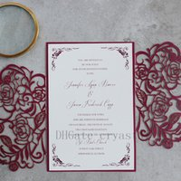Wholesale Unique Chinese - 2018 Blooming In Burgundy-Unique And Formal Invitation With Burgundy Rose Laser Cut Wrap, Fancy Wedding Invitation, Free Customized card