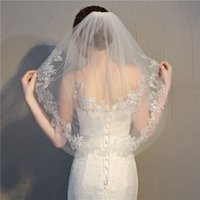 Wholesale Veil Supplies - Short veils blush 2 layers lace appliques ivory beautiful girls wedding veils with comb bridal veil supply