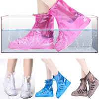 Wholesale universal shoes - Waterproof Rain Shoe Covers PVC Anti-Slip Reusable RainShoe Zipper Rain Boot Overshoes Waterproof Wear Resistant Shoes TY7-184