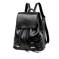 moda külotlu sırt çantası toptan satış-Siyah Deri Sırt Çantası Kadın İpli Okul Çantası Kızlar Için 2017 Moda Katı Softback Sırt Çantaları Marka mochila mujer