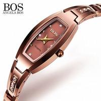 relojes de lujo de acero de tungsteno al por mayor-ANGELA BOS Luxury Tungsten Steel Sapphire Ladies Watch con diamantes de imitación 30 m impermeable a prueba de golpes mujeres reloj de oro rosa S924