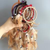 whosale klingelt großhandel-Doppelringe handgemachte Dream Catcher nach Hause hängen Dreamcatcher Dekor 6 Farben gemischt Handwerk handgefertigte Whosale