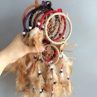 hand made craft achat en gros de-Double anneaux fait à la main attrape-rêves maison suspendus dreamcatcher décor 6 couleurs mélange artisanat à la main whosale