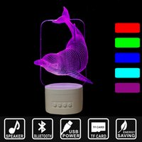 Wholesale 3d bluetooth speaker resale online - Bluetooth Speaker color change along with Music Nightlight D LED USB Nightlight Lovely Dolphin Home decor Lamp as gift