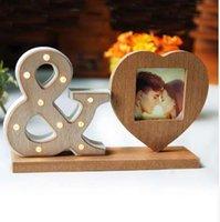 marcos de fotos con luz led al por mayor-Corazón de madera Sharp marco de imagen La decoración del hogar con Led Night Light Photoes marco Love Wedding Decor Picture Frame regalos