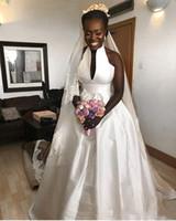 vestidos de noiva africano para venda venda por atacado-2018 Simples Limpo e Moderno Africano Mulheres Negras Uma Linha de Vestidos De Noiva De Noiva Vestidos De Jardim Vestido De Noiva Custom Made Venda Quente