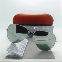 óculos de sol piloto mercúrio venda por atacado-Lente de Vidro de alta Qualidade Moda Homens Mulheres Designer de Marca óculos de Sol UV400 58 MM 62 MM Espelho Unisex Piloto Clássico Mercúrio Espelho Caixa Marrom Quente