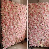 rosa rosa flores artificiales al por mayor-Baby Pink Wedding Flower Walls telones de fondo de boda Artificial Rose Hydrangea fondo para paneles de fotografía romántica de la boda 40 * 60 cm