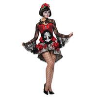 mulheres vestido zombie venda por atacado-Esqueleto adulto Ghost Zombie Noiva Halloween Mulheres Horror Fantasia Vestido Sexy Mulheres Halloween Traje Zumbi Vestido de Renda Preta