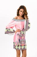 tailandia vestidos casuales al por mayor-Vestido de mujer Playa Bohemia Vintage Totem Estampado étnico Slash cuello de manga larga Casual M- 3XL Tailandia ropa de moda de verano