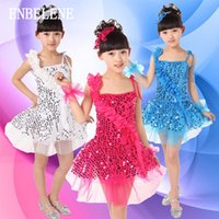 Wholesale Ballroom Dance Costumes For Kids - 2017 new girls short latin dancing dress for children sequin decorate sleeveless big kids dance costume ballroom dancewear FD194