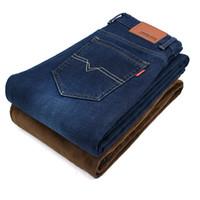 Wholesale winter jeans for men - 2017 Winter Mens Stretch Jeans Warm Fleece Flannel Lined Quality Denim Jean Pants Size 28-40 Brand Black Blue Jeans for Mens