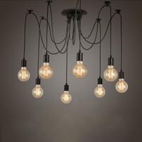 ingrosso lampadario regolabile-Retro Edison Light Bulb Chandelier Vintage Loft fai da te regolabile E27 Spider Lampada da soffitto cafe bar salotto lampada