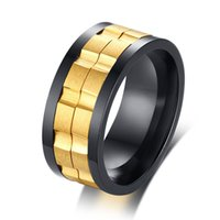 Wholesale finger spinner steel resale online - Men s Stainless Steel Spinner Ring MM Gear Style Unisex Finger Ring Anel Comfort Fit US Size To