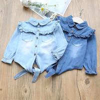 blusa de lazo azul al por mayor-Everweekend Sweet Kids Girls Bow Ruffles Denim Tops Vintage Color azul Niños Moda Primavera Otoño Blusa