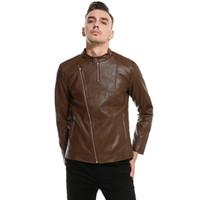 мальчики коричневая куртка оптовых-Мужская кожаная куртка мотоцикл куртка молодых мужчин Slim Fit молния блейзеры для мальчиков нам стиль коричневый красный