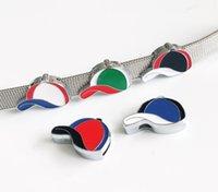 emaille hut charme großhandel-10 stücke 8 MM Emaille Mischfarbe Baseball Hut Diacharme Perlen DIY Zubehör Fit 8mm Kragen Gürtel Armbänder