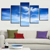 pinturas de angel al por mayor-Fotos HD Decoración Impresa Pared Moderna 5 Unidades Cielo Azul Nube de Ángel Forma Paisaje Pinturas de Lona Art Modular Marco de Cartel