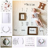 Wholesale Fabric Backdrop Photography - Newborn baby INS Blanket photography background props baby photo fabric backdrops infant blankets wrap letter flower numbers printing GGA44