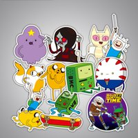 Wholesale bicycle wall stickers - Adventure Time Cartoon PVC Stickers For Lage Wall Car Laptop Bicycle Notebook Decoration Paster Funny Anime Reusing Decal 3 43xq YY
