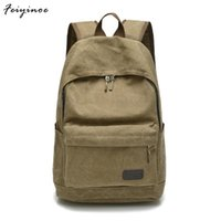 Wholesale korean version canvas backpack - Men bag canvas bag casual shoulder Messenger Korean version of schoolbags