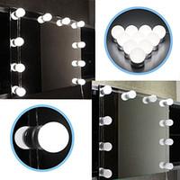 ampoules led pour luminaires achat en gros de-Ensemble de lumières de miroir de vanité LED de style Hollywood avec ampoules Dimmable, bande de luminaire pour l'ensemble de table de maquillage