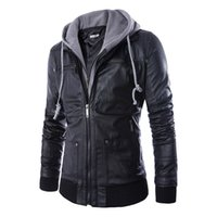 Wholesale Fake Fur Clothing - Hot Sale Europe Style Spring Autumn Slim Fit Hooded fake two piece Men's Motorcycle Leather Coat Men Clothing