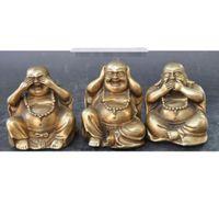 estatuas de la suerte de china al por mayor-Detalles sobre budismo chino Brass wealth lucky 3 Diferentes emociones Maitreya Buddha statue