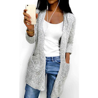 10cf4d0a73 Hot 2018 Autumn Winter Women Long Sleeve loose knitting soft cardigan  pocket sweater cadigan Womens Female pull femme cardigans S1020