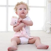coelho de toalha de animais venda por atacado-Recém-nascido Blankie Toalha Calmante Bebê Adorável Animal Forma Presente Suave Elefante Coelho Panda Criança Criança Bonecas de Pelúcia 7 5yt W