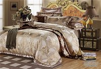 Wholesale Luxury Red Comforters - IvaRose Europe style gold Luxury jacquard bedding set bed cover+bed sheet+pillowcase tencel cotton comforter sets