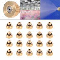 boquilla de agua de metal al por mayor-20 unids Sistema de enfriamiento de boquillas de nebulización de latón 0.2 -0.5 mm 10/24 diseño Rociadores de agua Riego Adaptación para riego Jardín