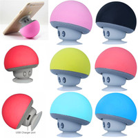 Wholesale plastic phone stands online – BT280 lovely mini mushroom Mp3 Car speaker subwoofer Bluetooth wireless speaker silicone sucker phone tablet computer stand