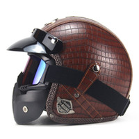 Wholesale leather motorcycle helmet xl - New Motorcycle Helmet Retro Vintage Synthetic Leather Open Face Helmet Motorbike Scooter Cruiser Chopper Casco Moto DOT
