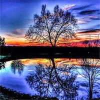 panel de brillo al por mayor-Lakeside crepúsculo árbol imagen invertida pintura diamante bricolaje puesta de sol puesta de sol puesta de sol Kits de artesanía artesanías regalos 30lf2 bb