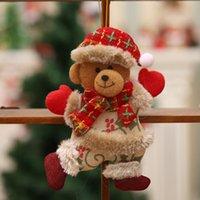 asılı bebek dekorasyonu toptan satış-Merry Christmas Süsler Noel Hediyesi Noel Baba Kardan Adam Ağacı Oyuncak Bebek Asmak Geyik Ayı Küçük Bebek Süslemeleri Noel Pencere Yenilik