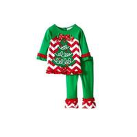 xmas ağacı elbisesi toptan satış-Bebek Kız Giyim Kış Sonbahar Noel Kıyafetler Noel Baba Ren Geyiği Xmas Ağacı Baskılı Uzun Kollu Pijama Pijama Set Elbise 27xy hh