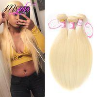 remy menschenhaar blonde seidig großhandel-613 # Malaysian Remy Menschenhaar Weiche Gerade 3 Bundles 8-26 zoll Verfügbar Blonde Menschenhaarverlängerungen Seidig Gerade Doppelschuss Weave