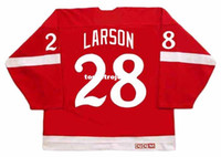 roseau rouge achat en gros de-Vente en gros Mens REED LARSON Detroit Red Wings 1982 CCM Vintage Retro Maillot de hockey