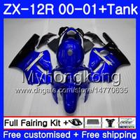 Wholesale zx12r blue online - Injection Tank For KAWASAKI NINJA Stock blue dark ZX R ZX R HM ZX1200 C CC ZX R ZX12R Fairings kit