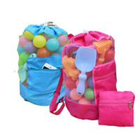 Wholesale sand tote online - Children Sand Away Toys Storage Bag Travel Beach Bag Solid Color Kids Mesh Backpack Children Day Gifts Home toy beach Shells Pouch Tote bag
