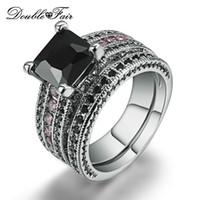 ingrosso gioielli imitazione pietre-Fede nuziale in stile romantico placcato oro bianco con pietra laterale rosa nera per gioielli imitazione cristallo moda degli amanti DFR695