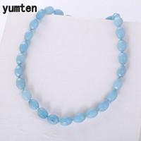 бисером ожерелье аксессуары для женщин оптовых-Yumten Aquamarine Necklace Bead Chains Romantic Women Jewelry Party Crystal Accessories Geometric Transparent Beaded Multilayer