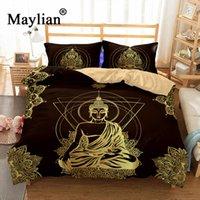 ingrosso biancheria da letto di design rosa-Set biancheria da letto del Buddha Copripiumino Mandala Peace Design Set letto Bohemian a Mini Van Biancheria da letto 3 pezzi BE1111